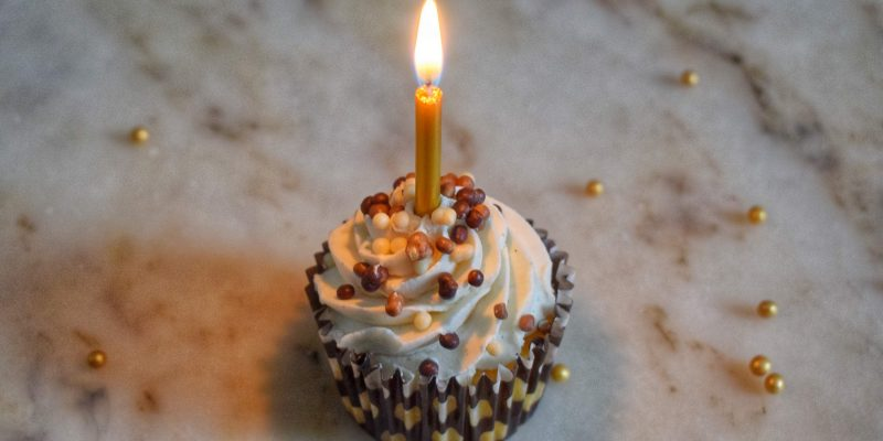 Decorated cupcake with candle